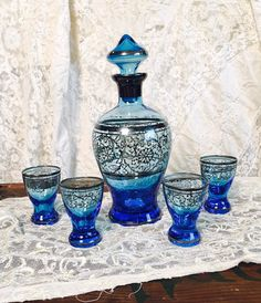 1950s Venetian Glass Decanter and Four by AnitasCuriosityShop