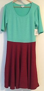 Lularoe XL Extra Large Nicole Teal and Maroon Red Blue Green New Color Block   eBay