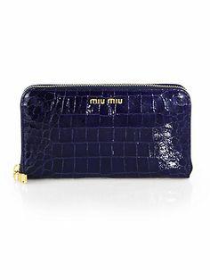 Miu Miu - St. Coco Lux Crocodile Embossed Leather Zip-Around Wallet - Saks.com