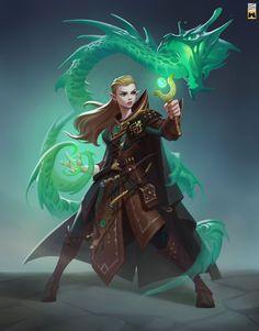 female summoner / sorcerer with green dragon magic - jade dragon summoning stone DnD / Pathfinder character concept Fantasy Images, Fantasy Rpg, Fantasy Girl, Dnd Characters, Fantasy Characters, Female Characters, Female Character Design, Character Concept, Character Art