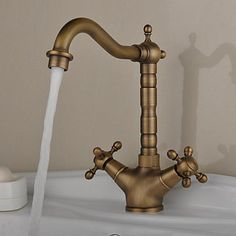 Deck+Mounted+Two+Handles+One+Hole+with+Antique+Brass+Kitchen+faucet+–+USD+$+47.99