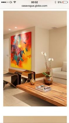 Large abstract painting is focal point for living room area. Decoration, Art Decor, Home Decor, Home Art, Living Room Decor, Interior Design, Modern Interior, House, Paintings