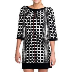 Laundry by Design Matte Jersey Houndstooth Stripe Dress - 3/4 Sleeve (For Women) in Aurora Multi