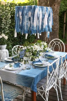 Make your own indigo dyed table cloth and napkins with this simple shibori technique guide from handcrafted lifestyle expert Lia Griffith.