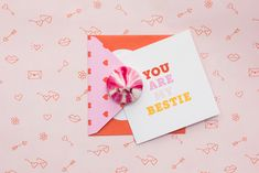 You are my bestie!! Don't forget your bestie this Valentine's Day. Mybella Strawberry and Rose Meringue Kiss. Card from Kikki K.
