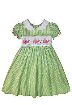 Marmellata Whale Smocked Dress Girls 4-6X