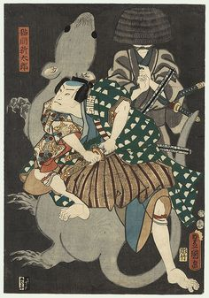 Toyokuni III/Kunisada - Japanese Woodblock Print Nakamura Fukusuke I as Nekoma Shintaro, 1854 by Toyokuni III/Kunisada - Nakamura Fukusuke I as the samurai Nekoma Shintaro, drawing his sword to do battle with a giant rat conjured up Japanese Art, Japanese, Woodblocks, Ancient Japanese, Samurai Art, Japanese Woodblock Printing, Art, Ukiyoe, Prints