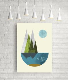 Earth print geometric print nordic design pastel colors by FLATOWL