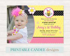 Rosa cumpleaños de abeja cumpleaños invitación  Bumble Bee
