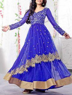 Buy Thankar Royal Blue Embroidered Suit Set Online, , LimeRoad