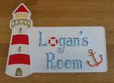 Personalised Acrylic Lighthouse/Anchor Children's Bedroom Door Name Sign by…