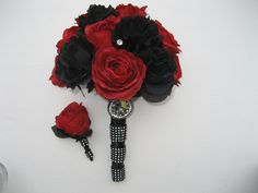 Black And Red Gothic Wedding Bouquet by DESIGNSBYDME on Etsy
