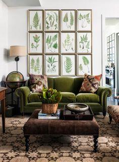 Botanical Green Velvet Sofa