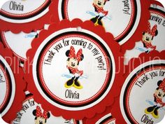 Red and Black Minnie Mouse GIFT TAGS. $5.50, via Etsy.