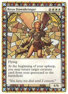 Reya Dawnbringer gets the stained glass treatment. BIG Matthew Wilson fan when I first started playing. By Klug Alters Game Card Design, Mtg Decks, Mtg Altered Art, Rendering Art, Stained Glass Angel, Mtg Art, Magic The Gathering Cards, Magic Cards, Alters