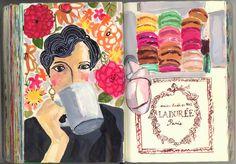 Artist and Illustrator Artist Journal, Artist Sketchbook, Art Journal Pages, Art Journals, Watercolor Sketch, Watercolor Illustration, Moleskine, Sketchbook Inspiration, Mail Art
