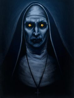 "brokehorrorfan: "" If you've seen The Conjuring 2, the striking image above will look familiar to you. Beware the Horror has recreated Ed Warren's nun demon painting from the film. Prints are available on Redbubble starting at $13.61. """