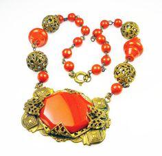 Art Deco Necklace Czech Glass Orange Gilt Metal by zephyrvintage #etsy #vintage #jewelry