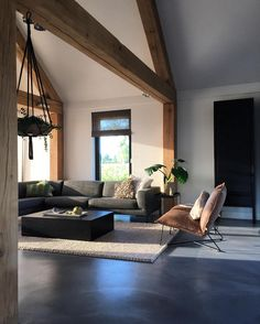 Love this cosy living room by - - Home Living Room, Living Spaces, Living Room Inspiration, Concrete Floors, Home Fashion, Home Interior Design, Interior Garden, Room Interior, Home Remodeling