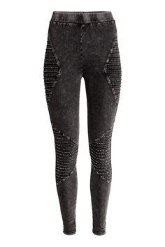 Biker Leggings   Black washed out   WOMEN   H&M US