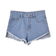 Chicnova Fashion Stonewashed Blue High Waist Denim Shorts ($22) ❤ liked on Polyvore featuring shorts, bottoms, pants, highwaist shorts, blue denim shorts, blue high waisted shorts, high rise shorts and jean shorts