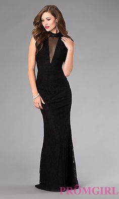 Long Open Back Lace Dress by Alyce at PromGirl.com