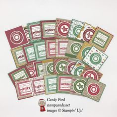 Click through to stampcandy.net for details! Stampin' Up!, Holly Jolly Layers, Layering Circles & Layering Squares Framelits Dies, Presents & Pinecones DSP, Candy Cane Lane DSP, Warmth & Cheer DSP Stack, Whisper White, Delightful Dijon, Red Red, Cherry Cobbler, Garden Green, Emerald Envy, Crumb Cake, Stamp Candy