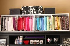 Great way to organize all of my fabric.  Just like in the stores but on a smaller scale.