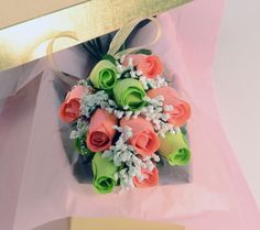Scented Green and Coral Bouquet Roses, Jewelry Candles - Sarah Griggs