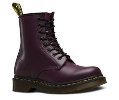 Martens 1460 8 Eyelet Smooth Purple Womens Boots for sale online Dr. Martens, Doc Martens Stiefel, Doc Martens Boots, Womens Leather Ankle Boots, Lace Up Combat Boots, Low Boots, Shiny Boots, Black Boots, Fashion Shoes