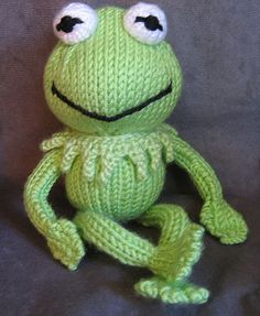 "Kermit the Frog (AKA ""Kermie"") of Muppet Fame for D's birthday!  My ""free hand"" (no pattern) knitted version of the famous and beloved frog.  :o)  Blogged at theknittycat.blogspot.com  Update: I'm sorry I still don't have a pattern written up for Kermit.  But the good news is that a dear friend has designed two adorable Kermit-like froggies, and she now has the patterns available! :o) One reminds me of our beloved Kermie! Here is the link to the one similar to mine…"