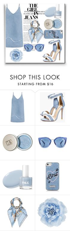 """""""The girl in Blue jeans"""" by farahaly ❤ liked on Polyvore featuring M.i.h Jeans, Boohoo, Prada, Skinnydip, Hermès and Monsoon"""