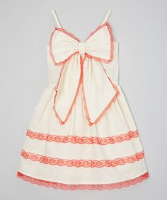 Ivory & Red Bow A-Line Dress - Infant, Toddler & Girls
