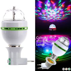 Portable multi LED bulb Mini Laser Projector DJ Disco Stage Light Xmas Party Lighting Show with to EU Plug Adapter Laser, Home Entertainment, Disco Light Bulb, Dj Disco, Disco Party, Bad Room Ideas, White String Lights, Lamps For Sale, Light Beam