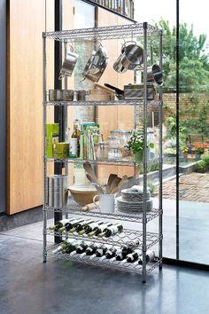 kitchen Pantry Rack - Chrome Kitchen Rack with Wine Shelves. Kitchen Trolley, Kitchen Pantry, Kitchen Decor, Kitchen Design, Decorating Kitchen, Room Kitchen, Kitchen Living, Living Room, Wine Shelves