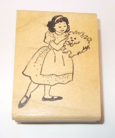 Girl holding dog rubber stamp in retro dress panting puppy dogs Cowtown stamps #CowtownStamps #Girldog