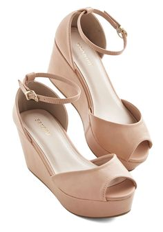 Walk It Over Wedge. Can we have a quick conversation about these peep-toe platforms? #tan #modcloth