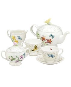 "Lenox ""Butterfly Meadow"" 7-Piece Tea Set, Service for Two - Serveware - Dining & Entertaining - Macy's"