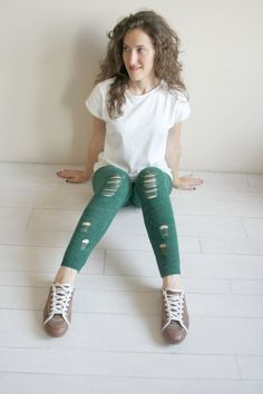 Items similar to Green Knitted Stretch Ripped Leggings 110bae563c90