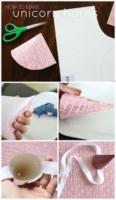 How to make tie-on Unicorn Horn Party Hats DIY for birthday party