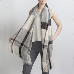 Hand Woven Alpaca Scarf in Black & Grey. Hand woven with 3 complex 24 shaft weave structures Araminta combined different tones of the white, grey and black fleece.