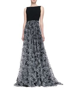 Sleeveless 3-D Floral Skirt Gown, Black/Ivory by Erin by Erin Fetherston at Neiman Marcus.