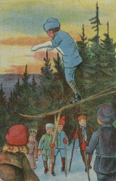 Julekort Bratt. Skihoppere. J.H.Küenholdt Stemplet 1912