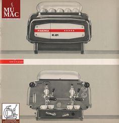 """E61 - Faema, Milano, 1961 La vera conquista del mercato nazionale ed internazionale da parte della Faema avviene con il lancio di una macchina per caffè veramente innovativa; la cosiddetta """"macchina ad erogazione continua"""". Il modello E61, disegnato da Giugiaro, prese il nome """"E"""" dall'eclisse solare avvenuta proprio in quell'anno, il 1961. La Faema E61rivoluziona davvero il modo di fare il caffè. Questo modello viene prodotto ancora oggi."""
