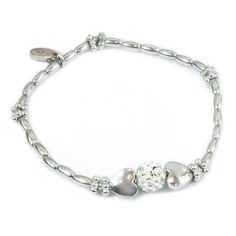 AB0016 - Rhodium plated bracelet with heart beads and diamante http://www.annabellewalker.com/