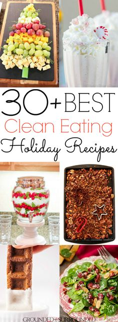 The 30+ BEST Clean Eating Holiday Recipes | Christmas is my favorite holiday! Oh, the food! You will find festive breakfast (donuts), healthy dinner, easy dessert, side dish (brussels sprouts), and fun snack ideas (candy canes) for kids parties or a cozy night in. Not to mention drinks, cookies, gingerbread, egg nog, green beans, and cider recipes to satisify your need for classic and comforting flavors! Most are gluten free / Paleo / low carb / dairy free, vegetarian and vegan substitutions…