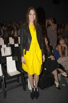 Mandy Moore - I like this trend of bright colored dresses with leather jackets