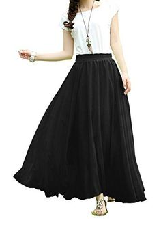 V28®Women Full/ankle Length Elastic Pleated Retro Maxi Chiffon Long Skirt