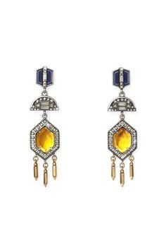 Set off these tiered citrine danglers with a topknot and smoky eyes.
