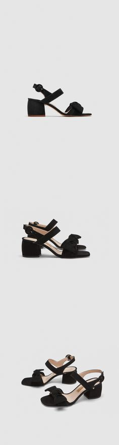 High Heel Leather Sandals With Ribbon // 79.90 USD // Zara // Leather high-heel sandals available in several colours. Bow detail on the front. Buckled ankle strap fastening. Heel height of 6 cm. / 2.3″